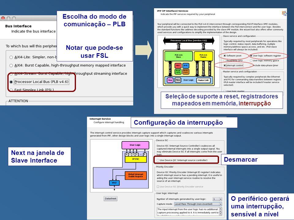 Escolha do modo de comunicação – PLB Notar que pode-se usar FSL