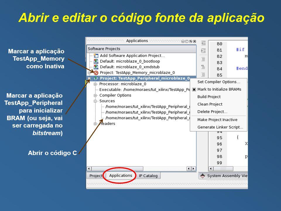 Abrir e editar o código fonte da aplicação