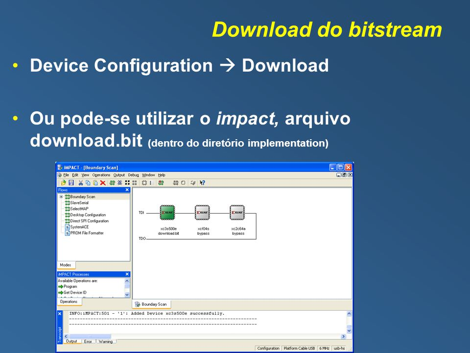 Download do bitstream Device Configuration  Download