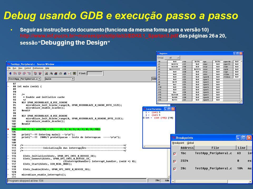 Debug usando GDB e execução passo a passo