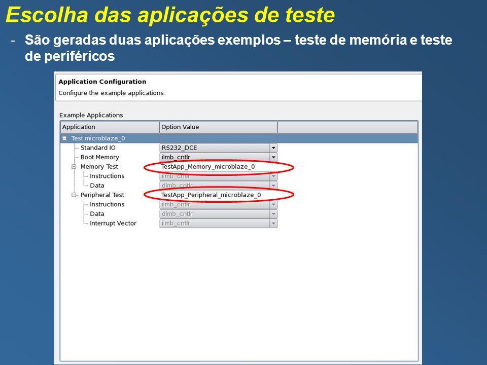 Escolha das aplicações de teste