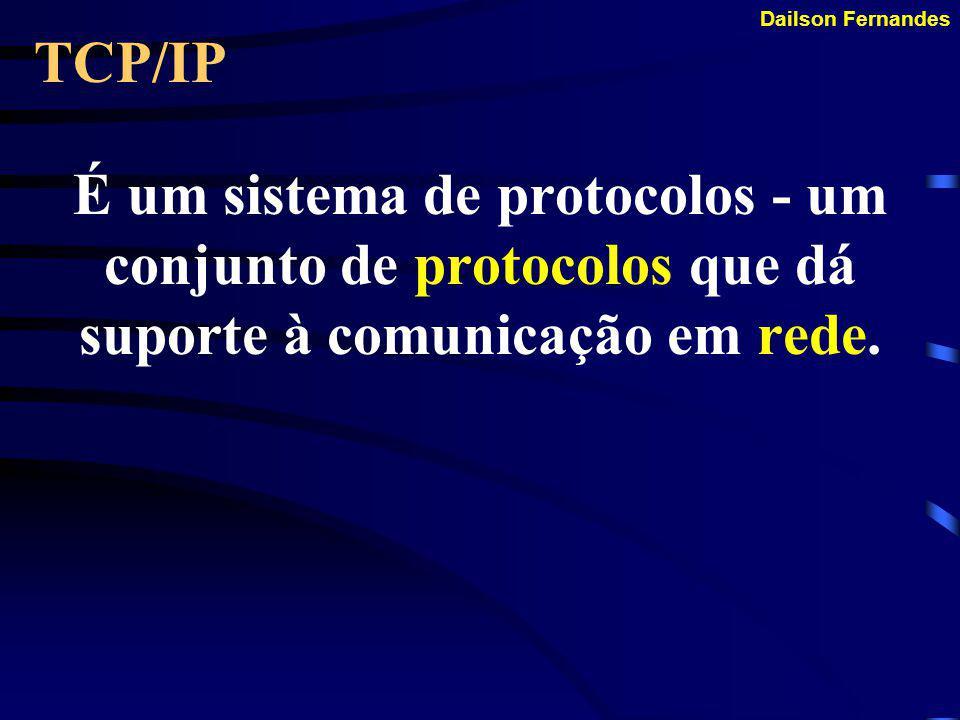 TCP/IP É um sistema de protocolos - um conjunto de protocolos que dá suporte à comunicação em rede.