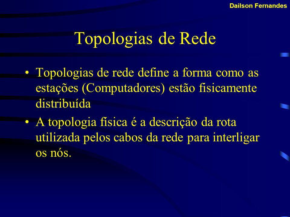 Topologias de Rede Topologias de rede define a forma como as estações (Computadores) estão fisicamente distribuída.