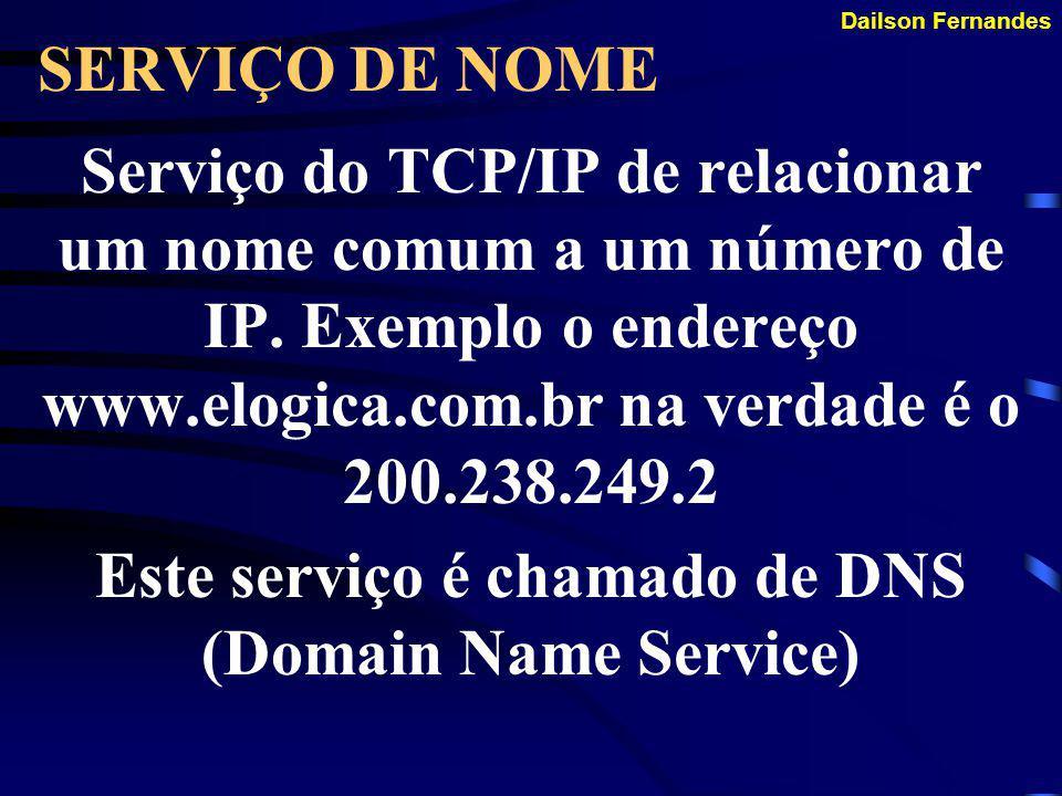 Este serviço é chamado de DNS (Domain Name Service)