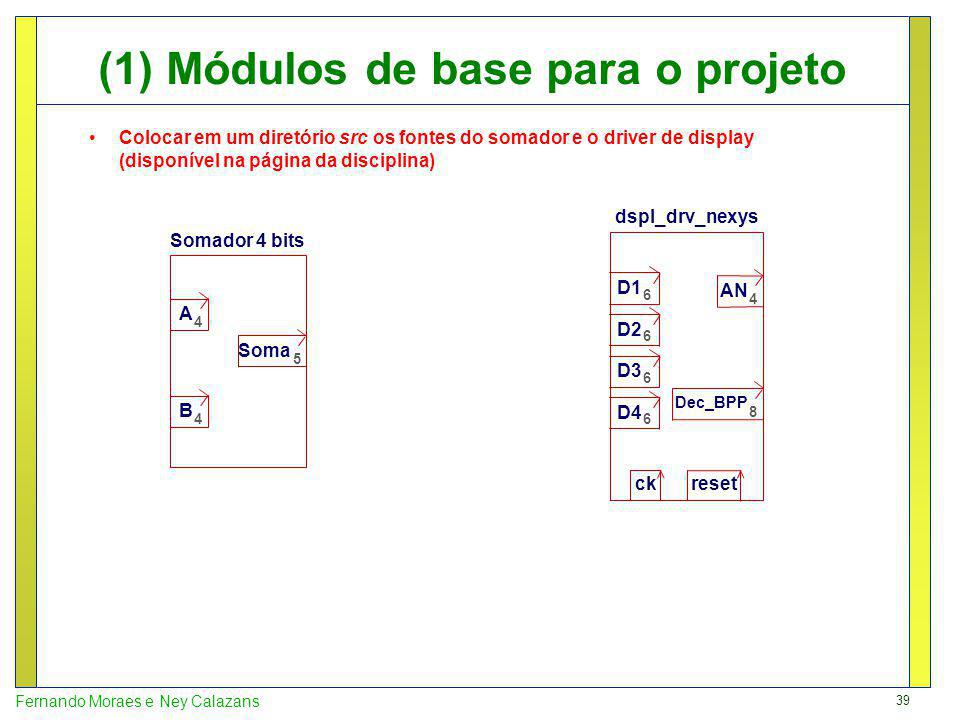 (1) Módulos de base para o projeto