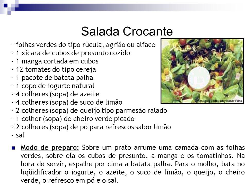Salada Crocante - folhas verdes do tipo rúcula, agrião ou alface