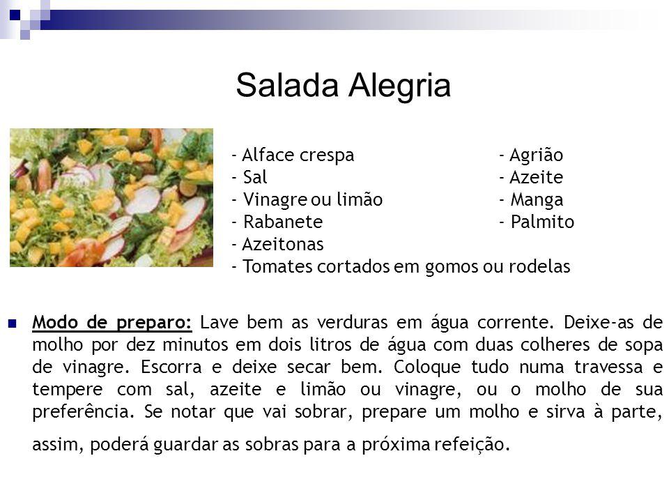 Salada Alegria - Alface crespa - Agrião - Sal - Azeite