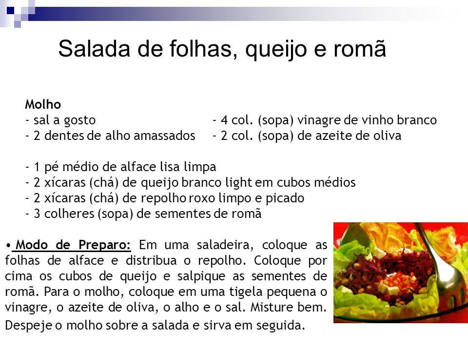 Salada de folhas, queijo e romã