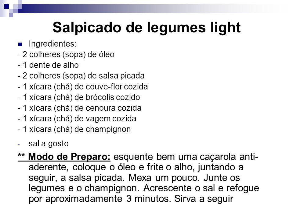 Salpicado de legumes light