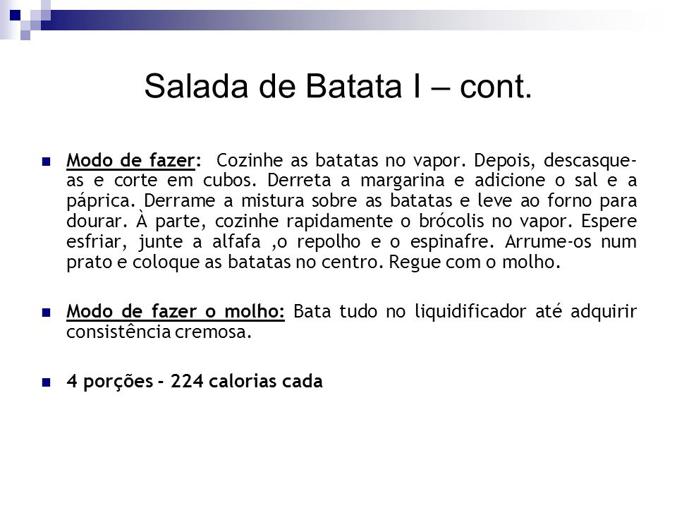 Salada de Batata I – cont.