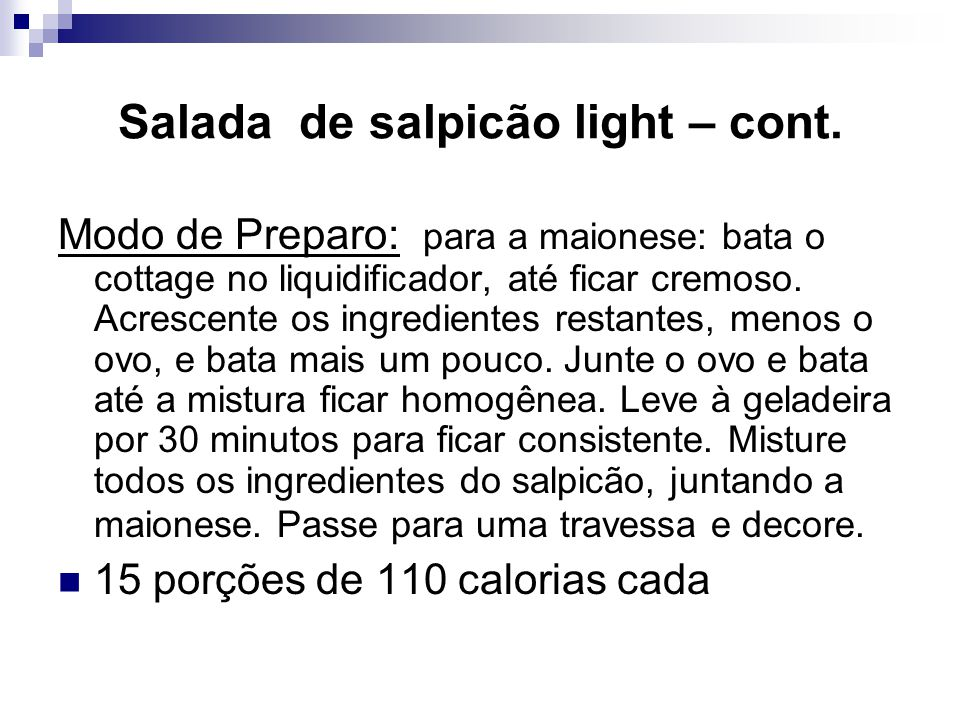 Salada de salpicão light – cont.