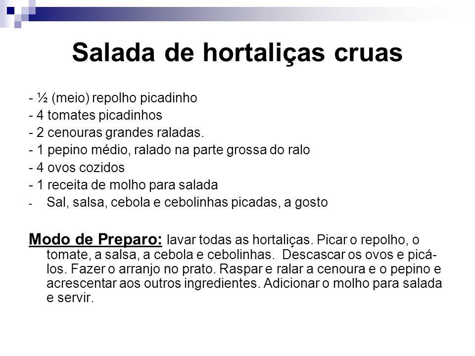 Salada de hortaliças cruas
