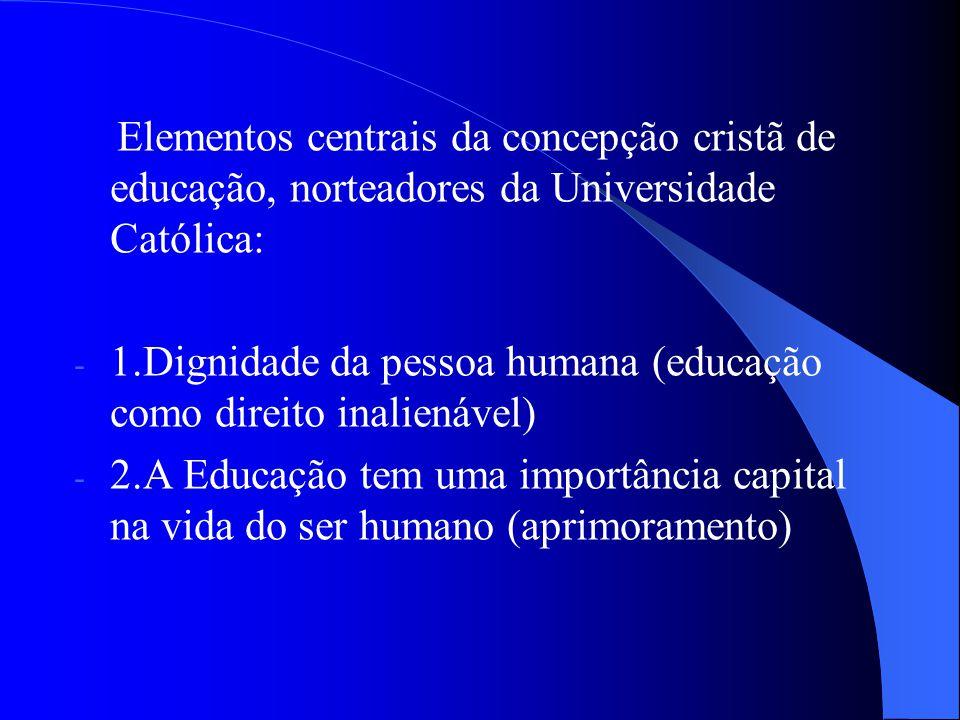 Elementos centrais da concepção cristã de educação, norteadores da Universidade Católica: