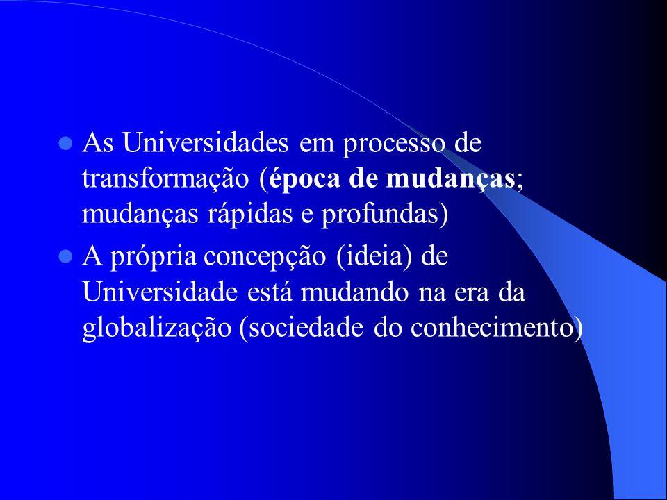 As Universidades em processo de transformação (época de mudanças; mudanças rápidas e profundas)