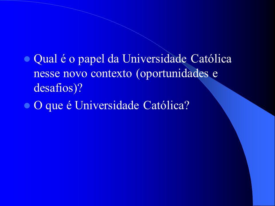 Qual é o papel da Universidade Católica nesse novo contexto (oportunidades e desafios)