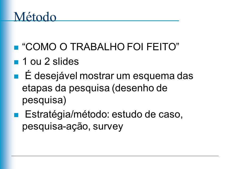 Método COMO O TRABALHO FOI FEITO 1 ou 2 slides