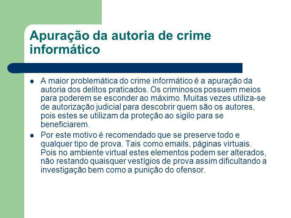Apuração da autoria de crime informático