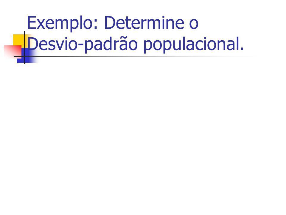 Exemplo: Determine o Desvio-padrão populacional.