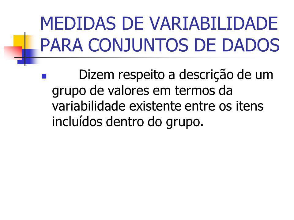 MEDIDAS DE VARIABILIDADE PARA CONJUNTOS DE DADOS