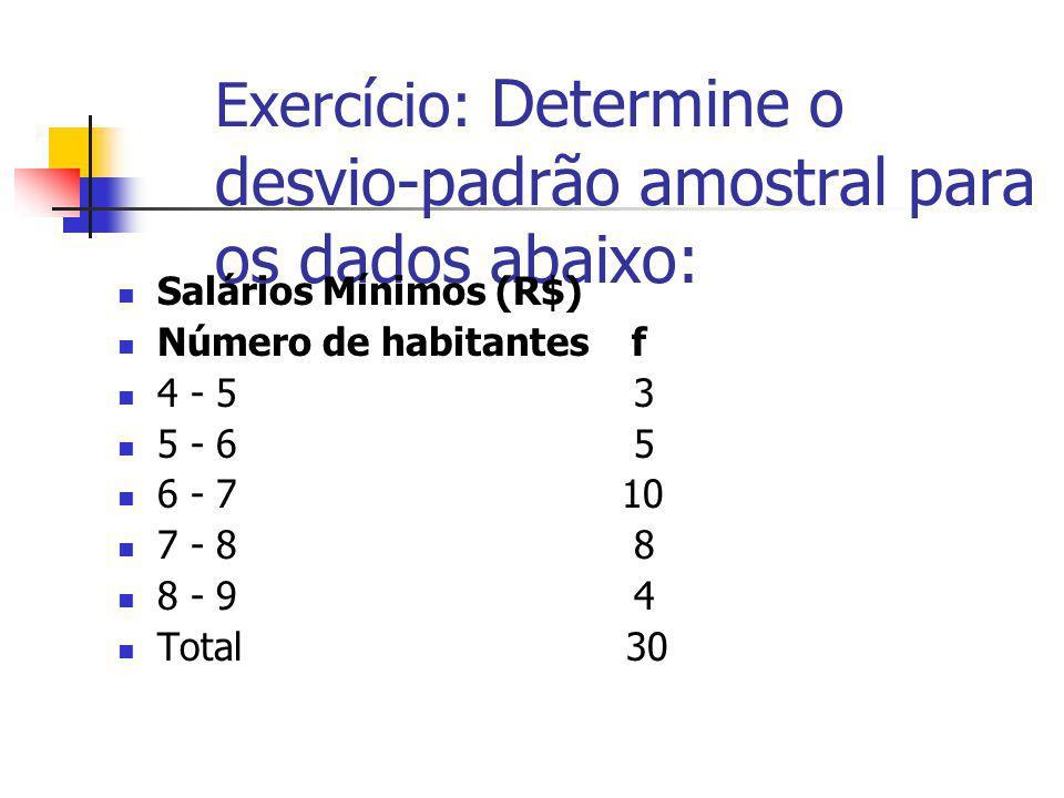 Exercício: Determine o desvio-padrão amostral para os dados abaixo: