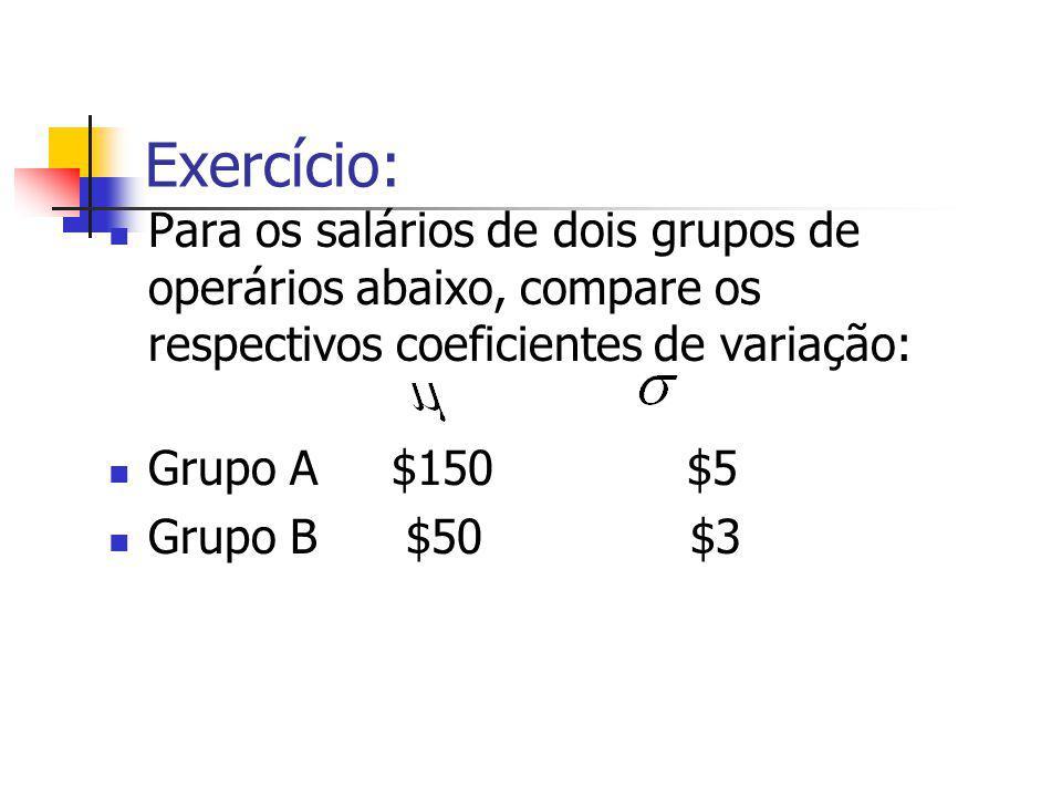 Exercício: Para os salários de dois grupos de operários abaixo, compare os respectivos coeficientes de variação: