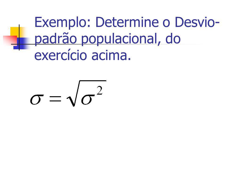 Exemplo: Determine o Desvio-padrão populacional, do exercício acima.