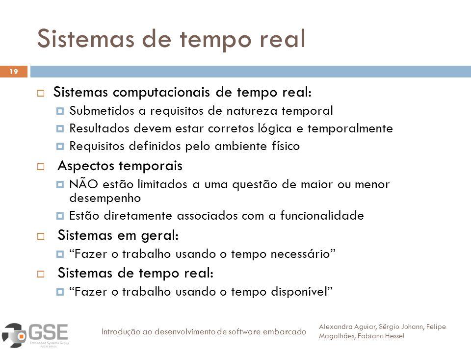 Sistemas de tempo real Sistemas computacionais de tempo real: