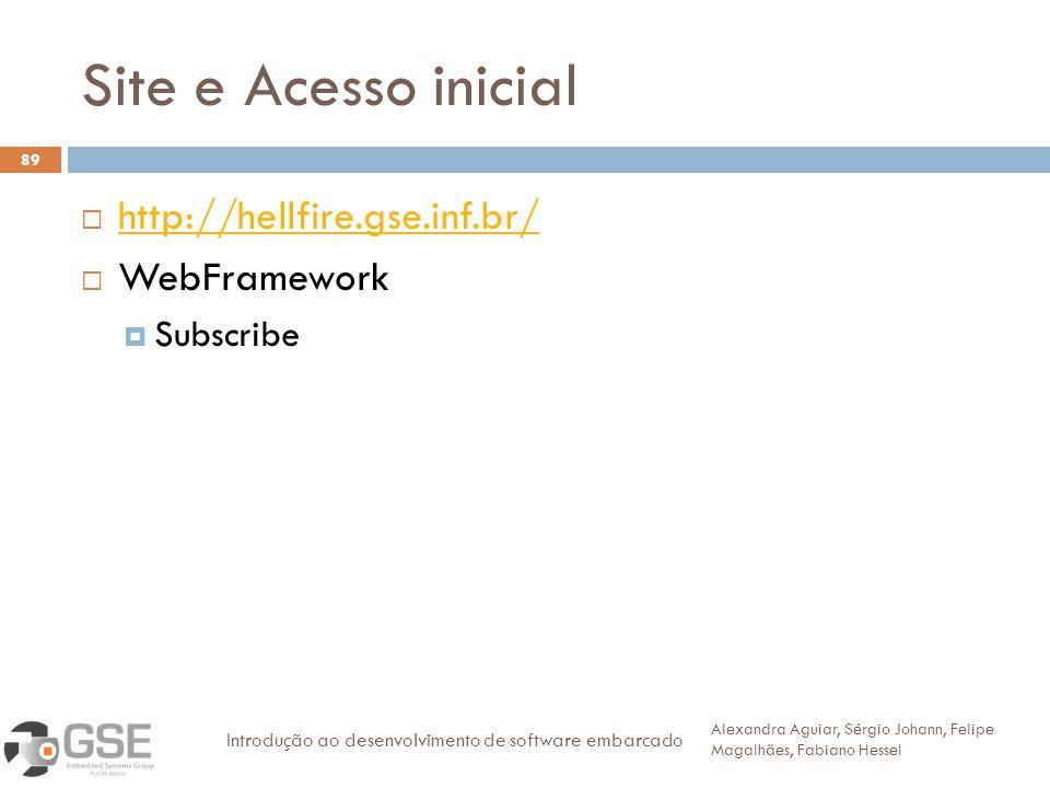 Site e Acesso inicial http://hellfire.gse.inf.br/ WebFramework