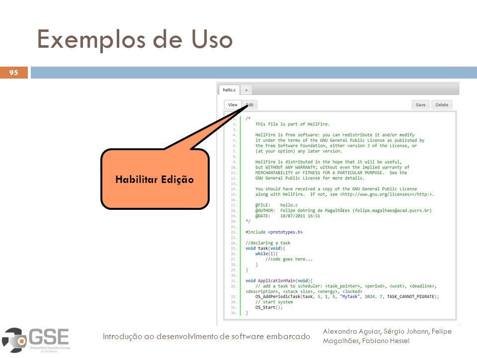 Exemplos de Uso Habilitar Edição