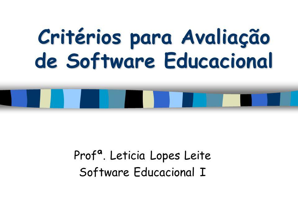 Critérios para Avaliação de Software Educacional