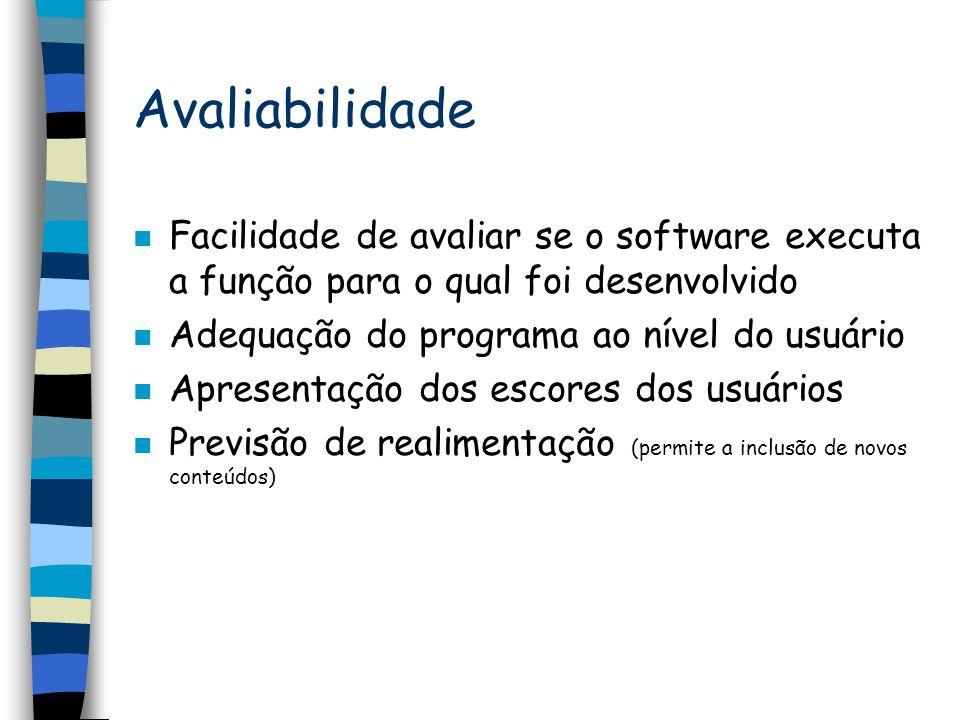 Avaliabilidade Facilidade de avaliar se o software executa a função para o qual foi desenvolvido. Adequação do programa ao nível do usuário.
