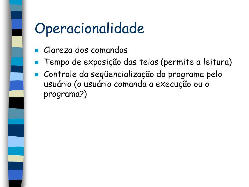 Operacionalidade Clareza dos comandos