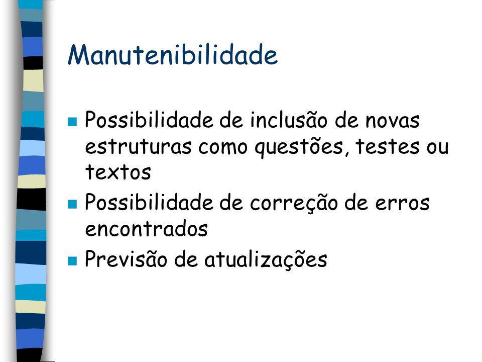 Manutenibilidade Possibilidade de inclusão de novas estruturas como questões, testes ou textos. Possibilidade de correção de erros encontrados.