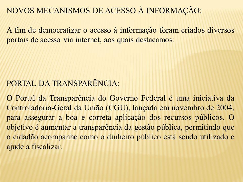 NOVOS MECANISMOS DE ACESSO À INFORMAÇÃO: