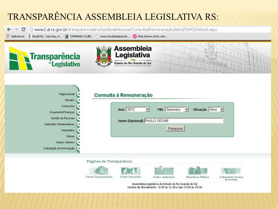TRANSPARÊNCIA ASSEMBLEIA LEGISLATIVA RS: