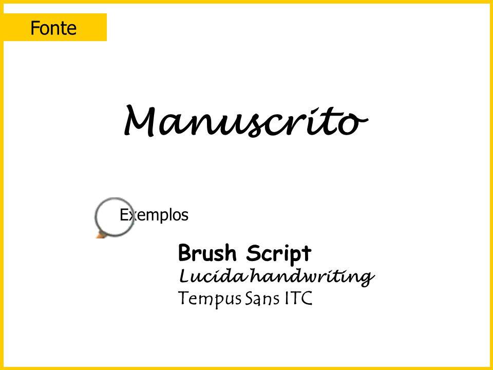 Manuscrito Brush Script Fonte Tempus Sans ITC Exemplos