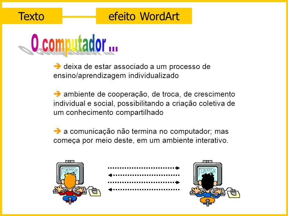 Texto efeito WordArt O computador ...