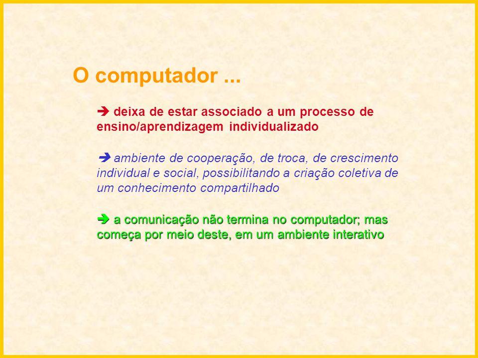 O computador ...  deixa de estar associado a um processo de ensino/aprendizagem individualizado.