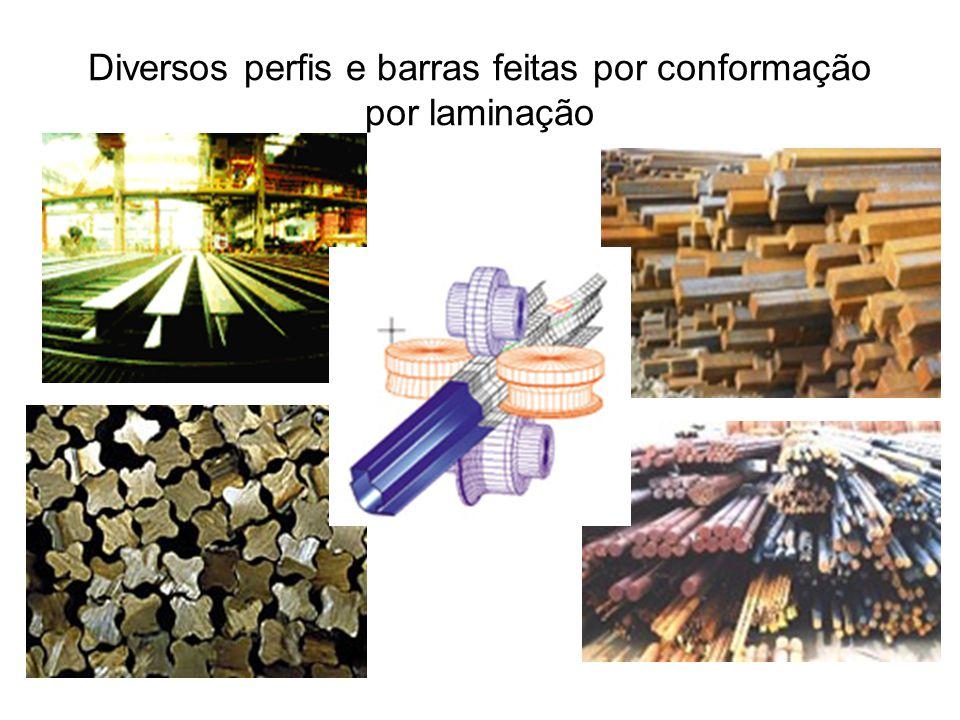 Diversos perfis e barras feitas por conformação por laminação