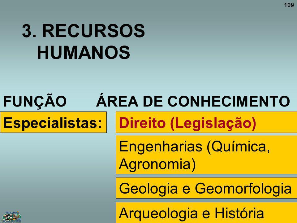 3. RECURSOS HUMANOS FUNÇÃO ÁREA DE CONHECIMENTO Especialistas: