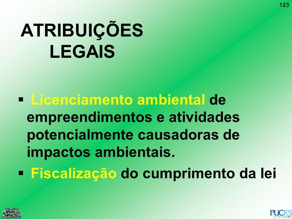 ATRIBUIÇÕES LEGAIS Licenciamento ambiental de empreendimentos e atividades potencialmente causadoras de impactos ambientais.