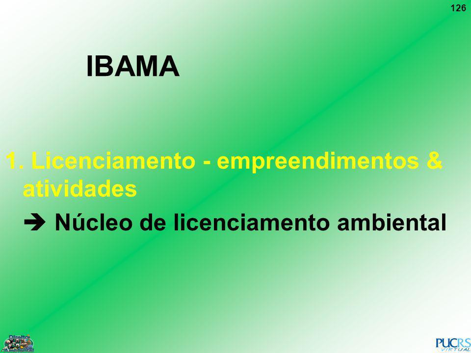 IBAMA 1. Licenciamento - empreendimentos & atividades