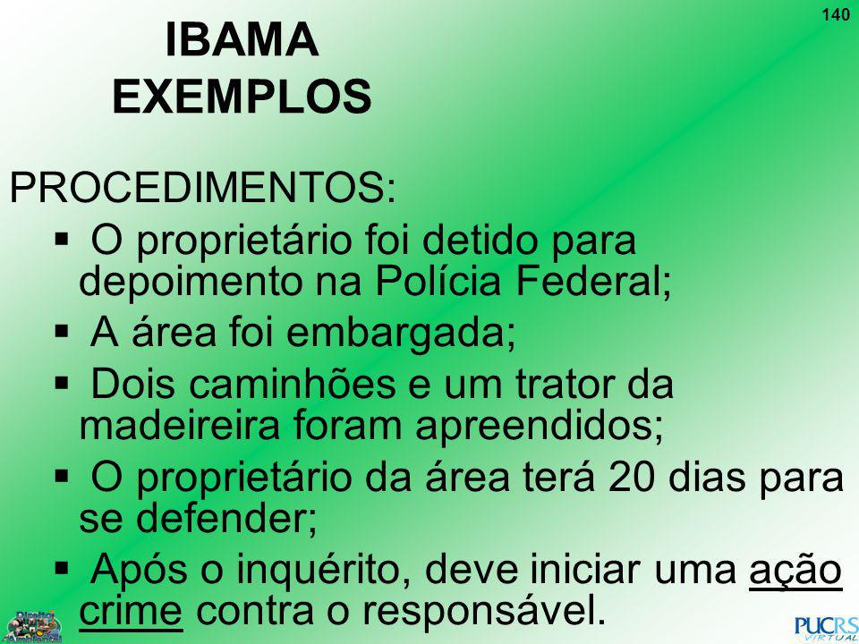 IBAMA EXEMPLOS PROCEDIMENTOS: