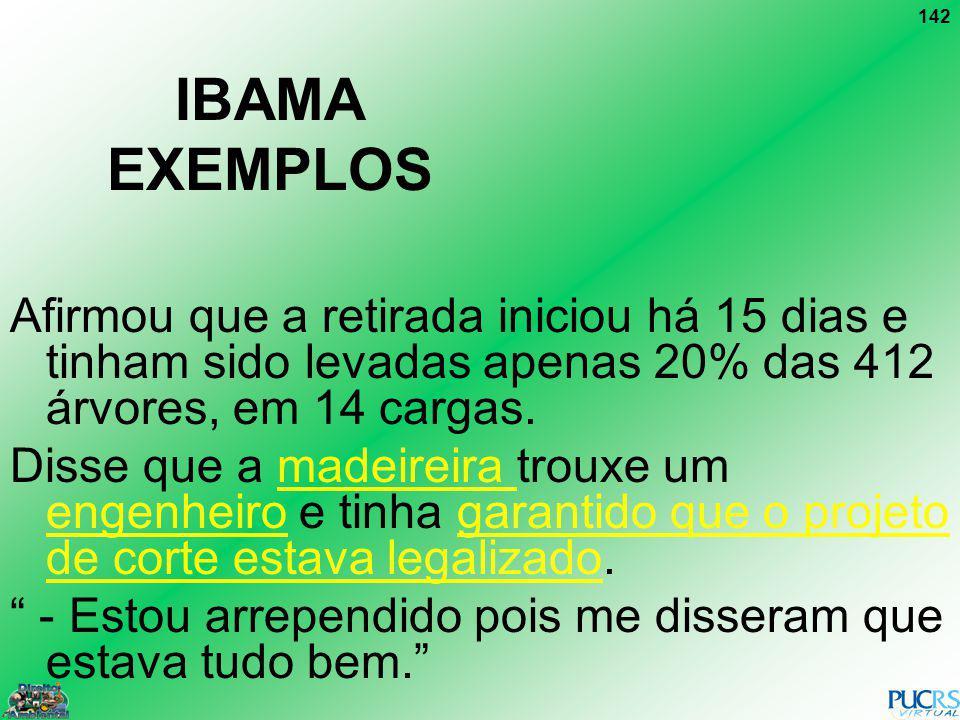 IBAMA EXEMPLOS Afirmou que a retirada iniciou há 15 dias e tinham sido levadas apenas 20% das 412 árvores, em 14 cargas.