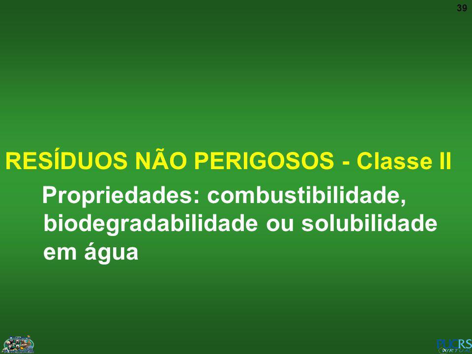 RESÍDUOS NÃO PERIGOSOS - Classe II