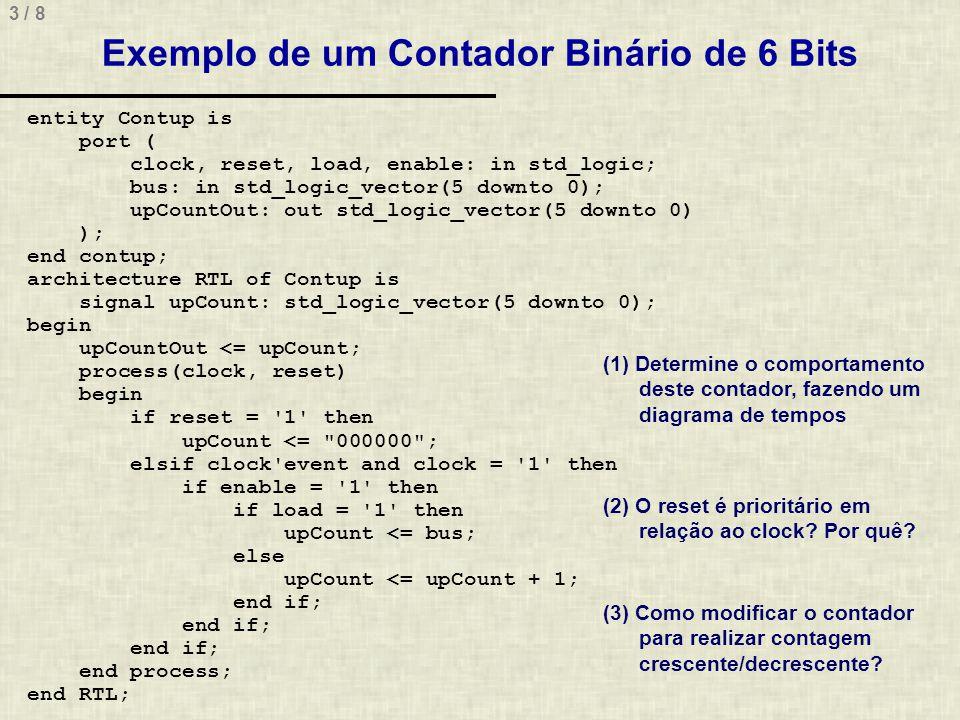 Exemplo de um Contador Binário de 6 Bits