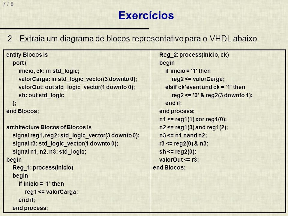 Exercícios Extraia um diagrama de blocos representativo para o VHDL abaixo. entity Blocos is. port (