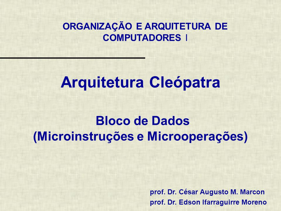 Arquitetura Cleópatra Bloco de Dados (Microinstruções e Microoperações)