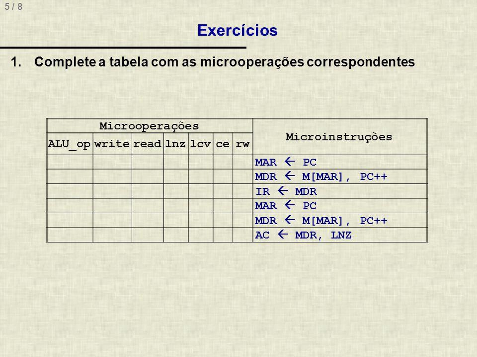 Exercícios Complete a tabela com as microoperações correspondentes
