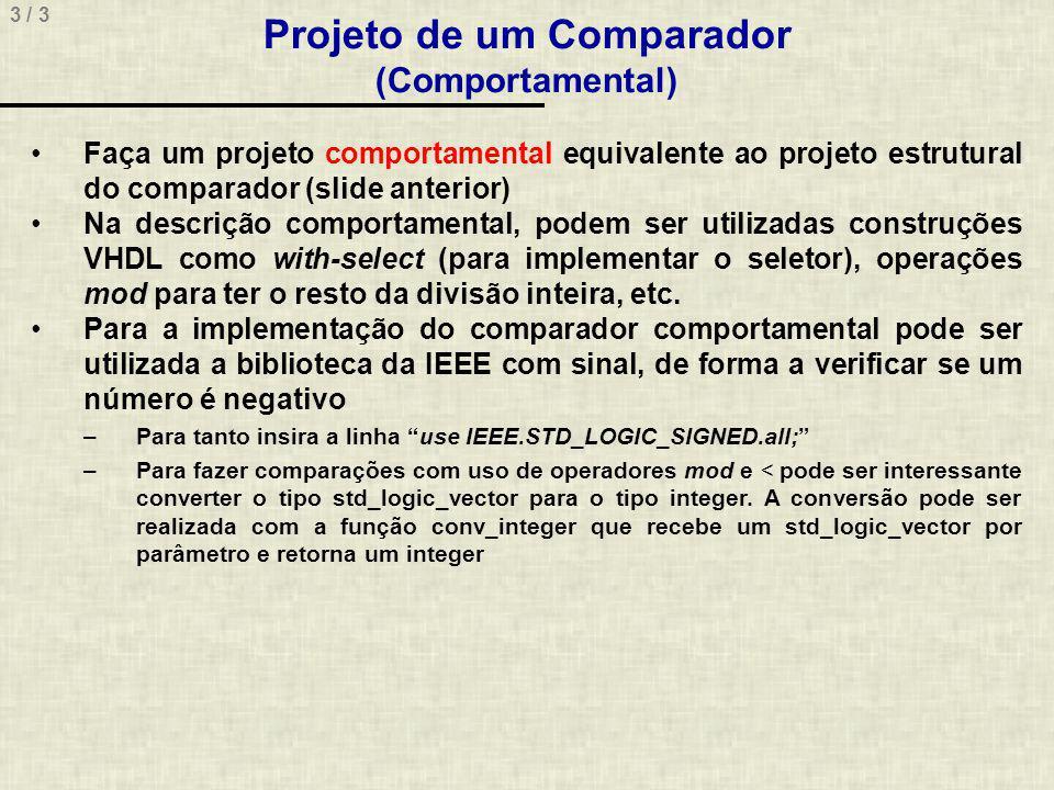 Projeto de um Comparador (Comportamental)